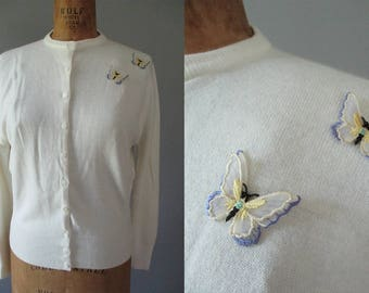 XL Vintage Cardigan - 50s Ivory Sweater - 1950s Orlon Cardigan - Butterfly Applique Sweater - Knit Jumper - Rockabilly - Bridal Sweater