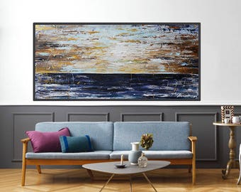 Extra Large Painting-landscape painting,ORIGINAL painting,canvas art, wall decor,dark blue painting,modean,Acrylic abstract painting,seascap