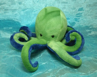 Green and Navy Blue Fleece Baby Octopus Plush Stuffed Animal