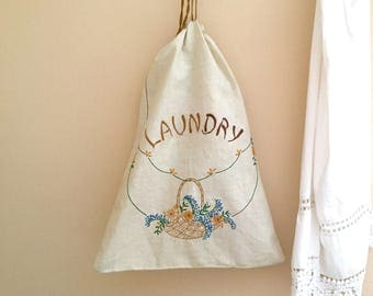 Embroidered Linen Laundry Bag Vintage Hand Made Cottage Decor