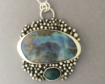Beautiful Boulder Opal Topaz Green Amethyst And Purple