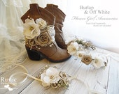 Burlap & Off White ~ Flower Girl Wedding Accessories ~ Boot Band ~ Flower Crown ~ Wrist Corsage.