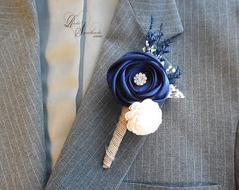 Will ship in 5 days ~ Navy Blue Satin and Sola Flower Groom Boutonniere