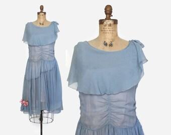 Vintage 20s Silk DRESS / 1920s Blue Crepe Dropwaist Capelet Party Dress XS