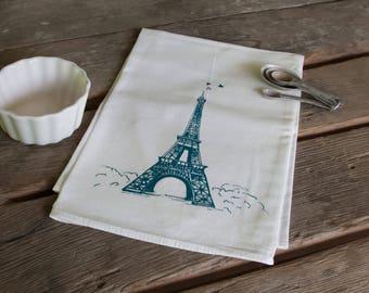 Eiffel Tower Screen Printed Tea Towel, flour sack towel love paris