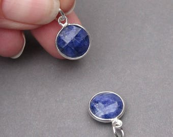 Sapphire Birthstone Charm, Sapphire Pendant, Sterling Silver Gemstone Charm, Interchangeable Pendant, September Birthstone Charm