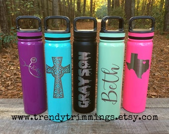 27 oz SIC™ Water Bottle- Laser Engraved/Etched Powder Coated Stainless Steel- monogram, name, logo- screw on carabiner top- like YETI, RTIC