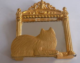 "Vintage brooch, signed ""JJ' cat at mirror brooch, fun funky figural Jonette Jewelry brooch, vintage jewelry"