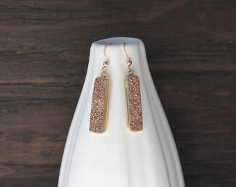 Rose gold druzy earrings, unique rose gold earrings