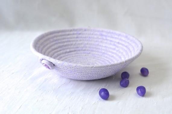 Violet Fabric Basket, Handmade Lavender Bowl, Cute Candy Dish, Desk Accessory Basket, Violet Pantone Artisan Quilted Bowl