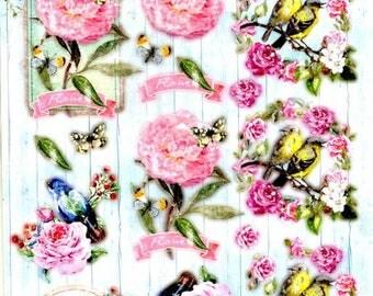 007 - 1 sheet of die cut flowers beautiful images
