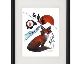 Fox on the Mountain - Archival Giclee Print