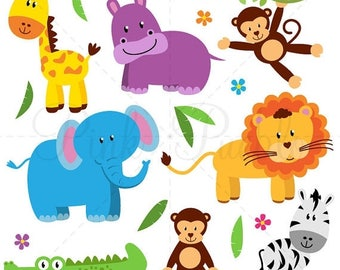 BACK TO SCHOOL Sale Zoo Animal Clip Art, Zoo Animal Clipart, Safari Jungle Animal Clipart Clip Art - Commercial and Personal Use