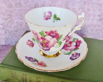 Tea Cup And Saucer Set Crownford English Fine Bone China Floral  Pink Purple Sweet Pea Design