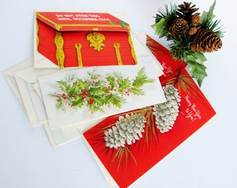 8 Christmas New Years Cards 1960s Ambassador Cards 8 Unused  With Original Envelopes 2 With Mica Glitter