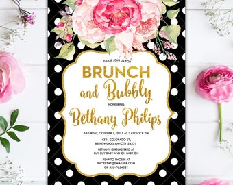 Black and White Polka Dots and Pink Floral and Glitter Gold Brunch and Bubbly Bridal Shower Bachelorette Party Printable Invitation