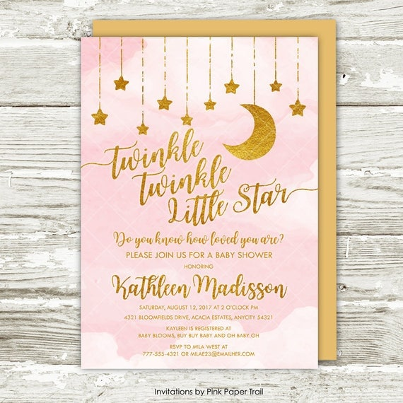 image relating to Baby Shower Printable Invitations called Twinkle Twinkle Small Star Boy or girl Shower Invitation, Red and Gold Moon and Superstars Lady Youngster Shower Printable Invitation