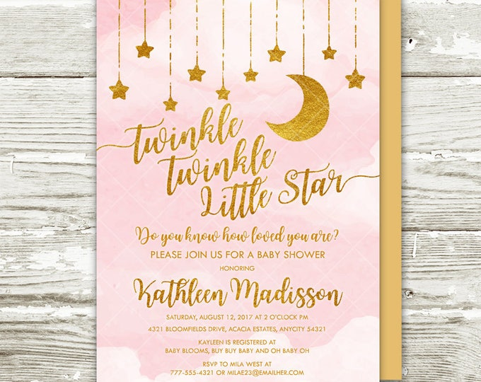 Twinkle Twinkle Little Star Baby Shower Invitation, Pink and Gold Moon and Stars Girl Baby Shower Printable Invitation
