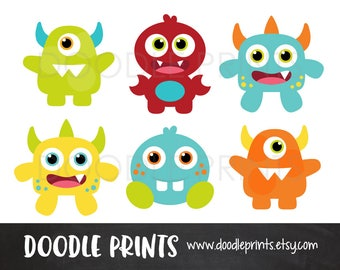 Monster Clipart, Digital Clip Art Printable, Monster Digital Scrapbook, Cute Baby Monsters Design, Monster Party, Personal &  Commercial Use