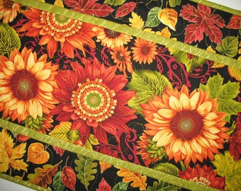 Autumn Table Runner, Sunflowers,  handmade table runner, quilted, fall leaves, focus fabric from Henry Glass
