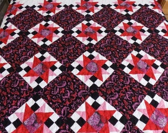 Sale Christmas in July Star Queen/Double Quilt, Handmade, Red,Pink,White, Black 93 x 84