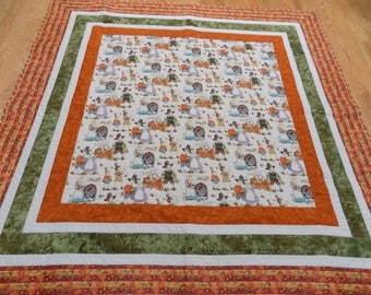 Thanksgiving Pilgrim festive lap quilt or tablecloth 71 x 71