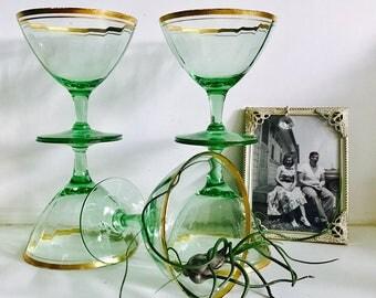 Vintage Green & Gold Champagne Glasses