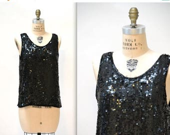 SALE Vintage Black Sequin Shirt Tank Top Size Medium Large// 80s Vintage Sequin Top Black Size Medium Large