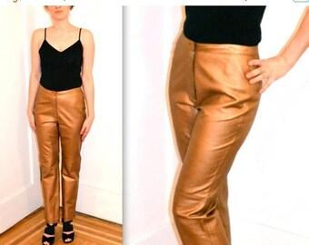 SALE Amazing Metallic Leather Pants// Vintage Leather Pants Size Small/Medium// Gold Leather Pants