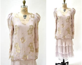SALE Vintage Silk Dress Medium Pink Pastel Metallic Ruffles Flapper Inspired Silk by Judy Hornby Couture for I. magnin