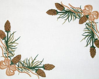 Pinecone and ribbon embroidered quilt label, to customize with your personal message