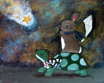 8 x 10 Nursery Wall Art Print Tortoise and Hare Star Catching Starry Night Sky Painting Whimsical Cute Childrens Decor Kids Playroom Artwork