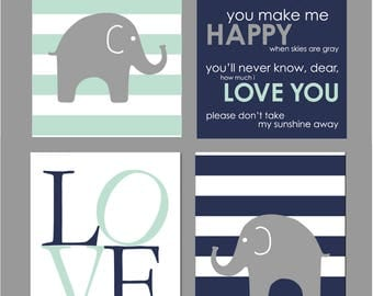 Mint Nursery Decor, Elephant Nursery Decor, Elephant Nursery Art, Baby Boy Nursery Wall Art, Navy Nursery Decor, You are My Sunshine, 8x10s