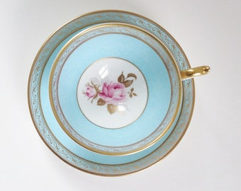 Aynsley Tea Tea Cup and Saucer Set, Vintage Aqua Tea Cup w Pink Roses, Turquoise Teacup and Saucer, Vintage Blue Teacup and Saucer Set