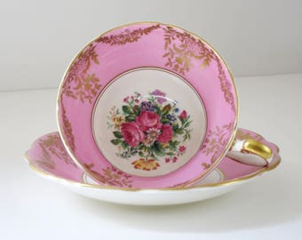 Vintage Tea Cup and Saucer, Pink EB Foley Teacup, Tea Cup and Saucer Set, Gifts for Wedding Holiday Brides Maid Mom, Cup and Saucer