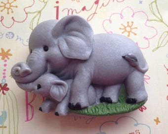 Elephant Soap, Elephant Mom with Baby, Elephant Love, Bath Soap, Gift Soap, Novelty Soap, You pick scent & color