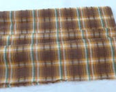 1 & 1/2 Yard Vintage Seersucker Cotton Fabric from 1940's  - 36 Inches Wide - Brown, Green, Yellow, Orange, White Plaid  - FA52NC