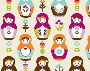 40% OFF SALE - Little Matryoshka Doll Cotton Fabric - MAIN Cream - Riley Blake - By the Yard