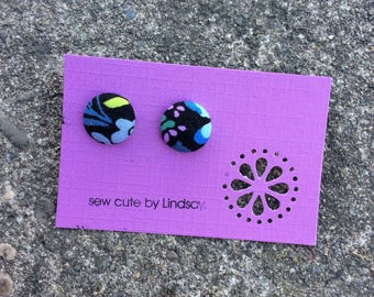 Covered Button Earrings - Anna Marie Horner - Blue Floral