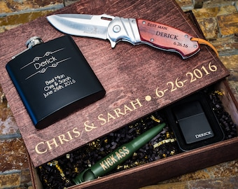 Groomsmen Gift Box, Groomsman Gift Box, Groomsmen Gift, Personalized Gift, Groomsmen Gift Set, Boyfriend Gift, Flask, Knife, Wooden Box