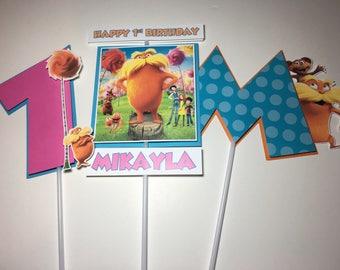 THE LORAX Birthday Party Centerpiece Picks / Sticks
