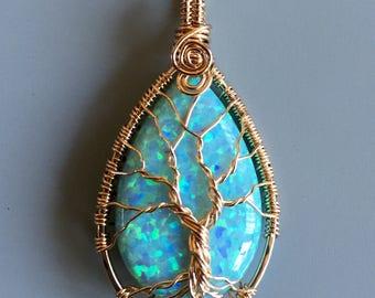 Aqua Blue Opal Pendant Necklace,Simulated Aqua Blue Opal Tree of Life Necklace Gold filled Wire,Synthetic AquaBlue Tree of Life,Opal Pendant