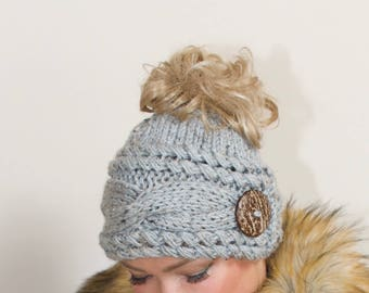 Messy Bun Hat Ponytail Beanie Messy Bun Beanie CHOOSE COLOR Gray Marble Cabled Beanie Ponytail Hat Beanie with hole Mom Life Christmas Gift