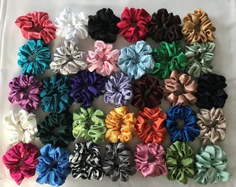 5 Satin Hair Scrunchies Handmade  33 Colors To Choose From  5 NEW COLORS ADDED