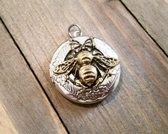Locket Pendant Round Locket Silver Locket Bee Pendant QUEEN BEE Pendant Bee Locket Photo Locket Picture Locket Gold Bee Pendant PREORDER