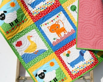 Animal Baby Quilt, Patchwork, Baby Blanket Unisex Dachshund Dog Cat Panda Sheep Fox, Orange Yellow Ann Kelle Zoologie, Toddler Bed Blanket