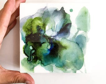 Small Abstract Painting on Wood. Green Watercolor Art Resin. Greenery Artwork. Sage Green Decor. Contemporary Wall Art. Original Home Decor.