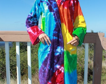 Tie Dye Bath Robe One Size Upcycled AS IS