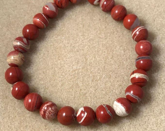Red River Japer Bracelet, Flame Jasper Bracelet, Jasper Bracelet, 8mm Bracelet, Stretch Bracelet, Beaded Bracelet, Bead Bracelet, Red Jasper