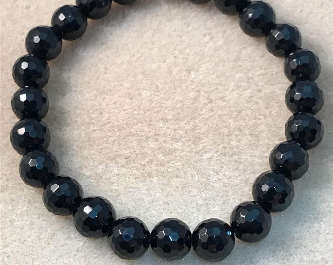 Black Tourmaline Bracelet / Faceted Black Tourmaline / 8mm Tourmaline / Stretch Bracelet / Beaded Bracelet / Bead Bracelet / Black Schorl